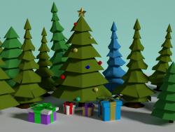 New Year tree low poly model - Новогодняя елка