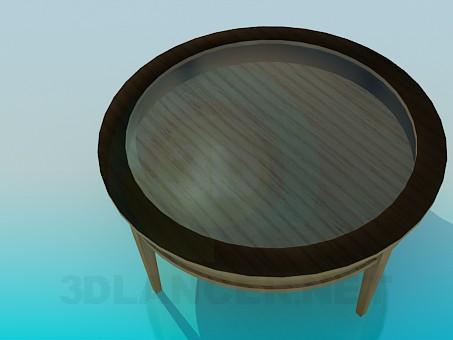 3 डी मॉडलिंग कांच तालिका के शीर्ष पर के साथ लकड़ी की मेज मॉडल नि: शुल्क डाउनलोड