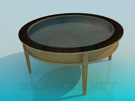 3d model Wooden table with glass tabletop - preview