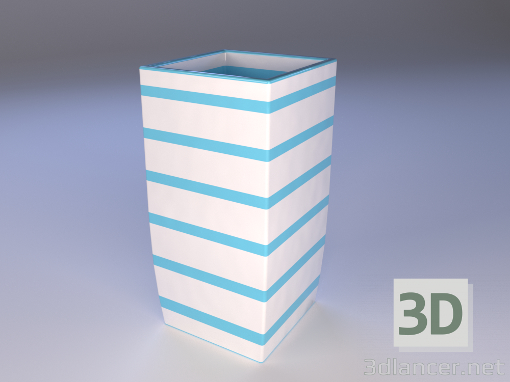 3d model ceramic vase with stripes - preview