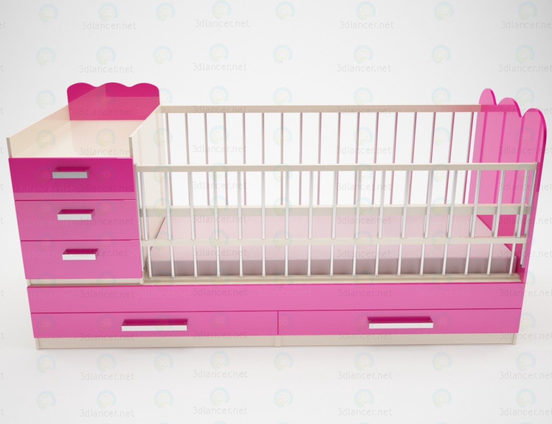 3d моделирование Кроватка детская с ящиками для хранения и пеленальным столиком модель скачать бесплатно
