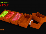 3D Wooden Tray Game asset -LOW POLY