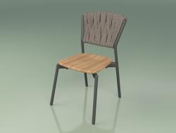 Chair 220 (Metal Smoke, Teak, Padded Belt Gray-Sand)