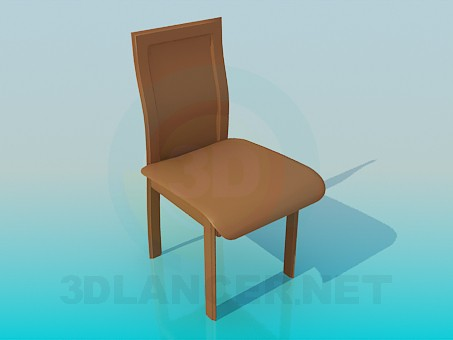 3d model Silla con asiento de cuero - vista previa