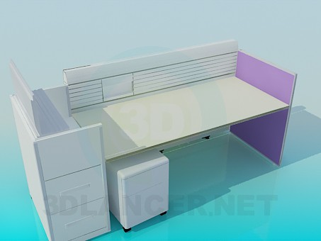 3d modeling Desktop in the office with boards model free download