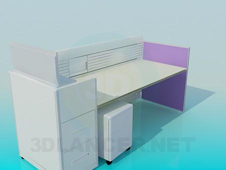 modelo 3D Escritorio en la oficina con los tableros de - escuchar