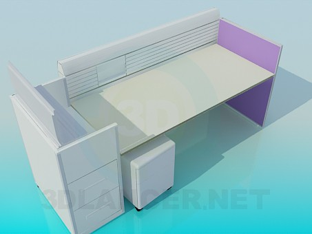 3d model Desktop in the office with boards - preview