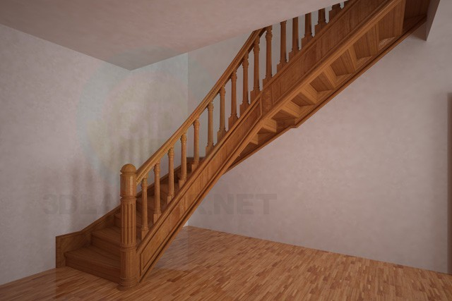 3d model staircase corner - preview