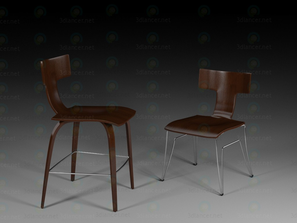 3d modeling Kitchen chair model free download