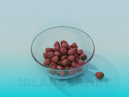 3d modeling Dish with strawberries model free download