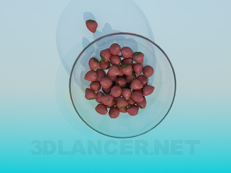 3d model Dish with strawberries - preview