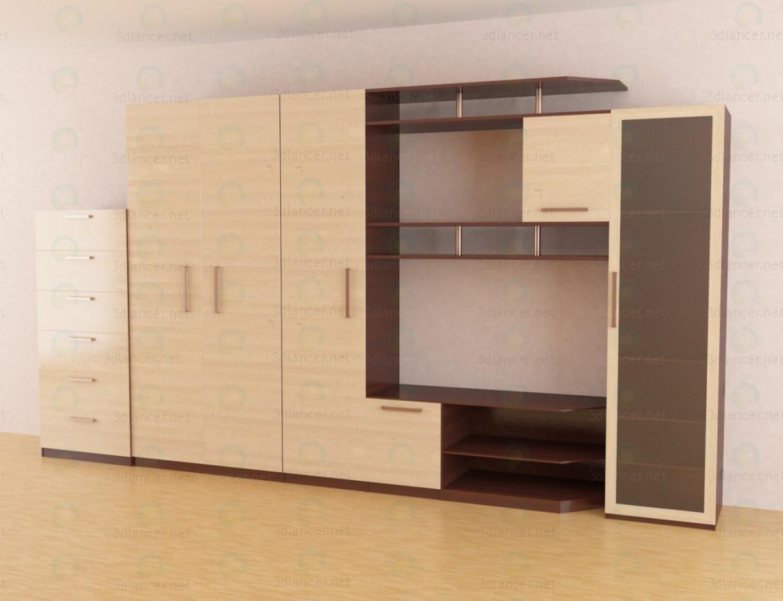 3d моделювання Меблева стінка у вітальню модель завантажити безкоштовно