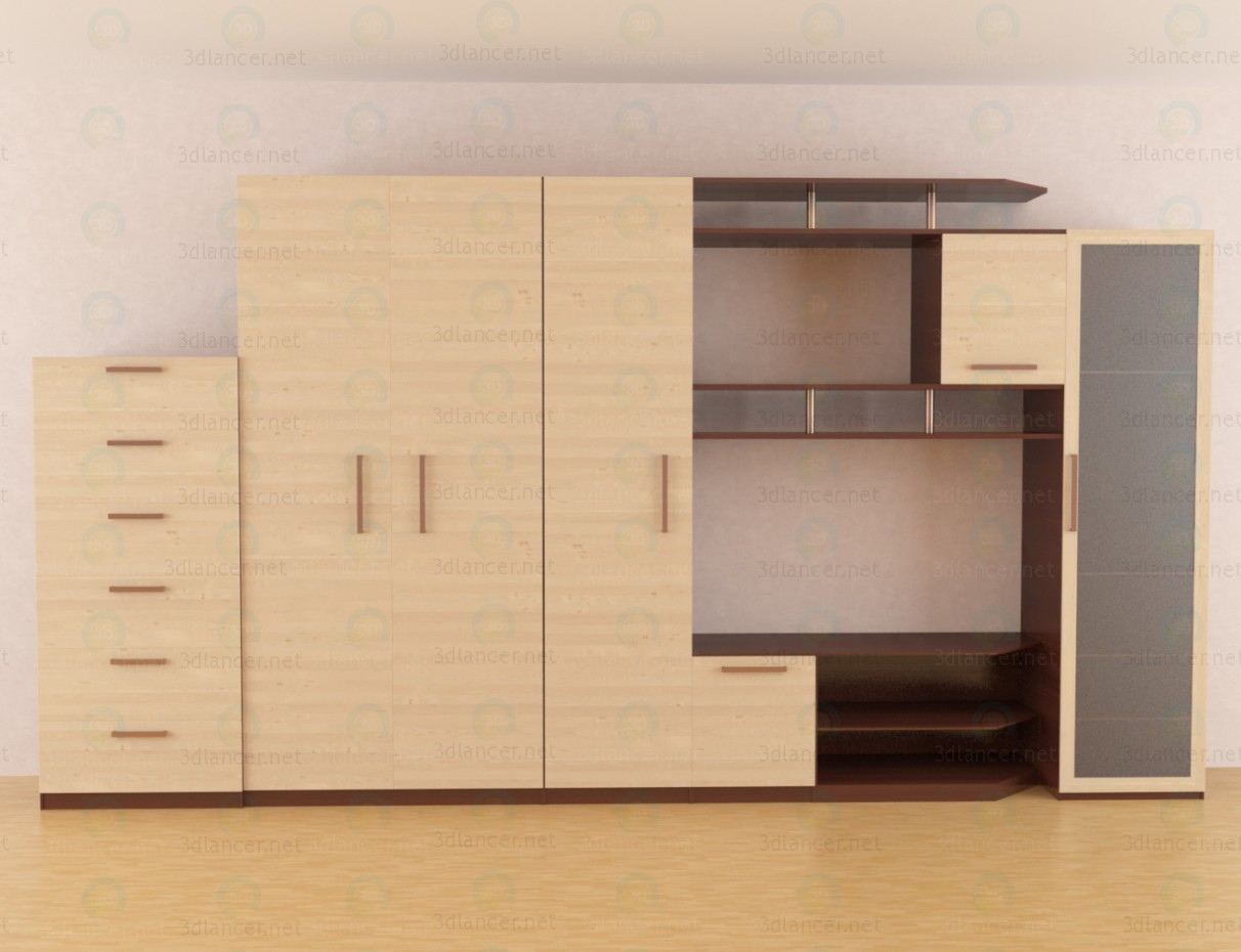 3d model The wall-unit for the living room - preview