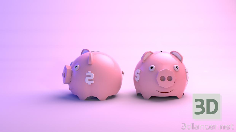 3d model piggy bank - preview