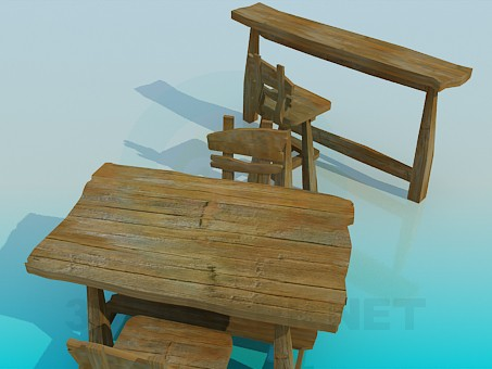 3d model Table, chairs and bar counter - preview