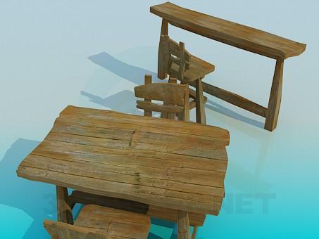 3d модель Стол, стулья и барная стойка – превью