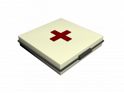 The first-aid kit is simple