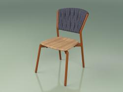 Chair 220 (Metal Rust, Teak, Padded Belt Gray-Blue)