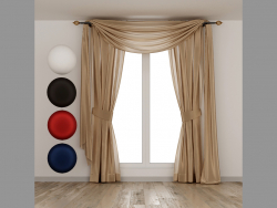 Silk curtains with lambrequin