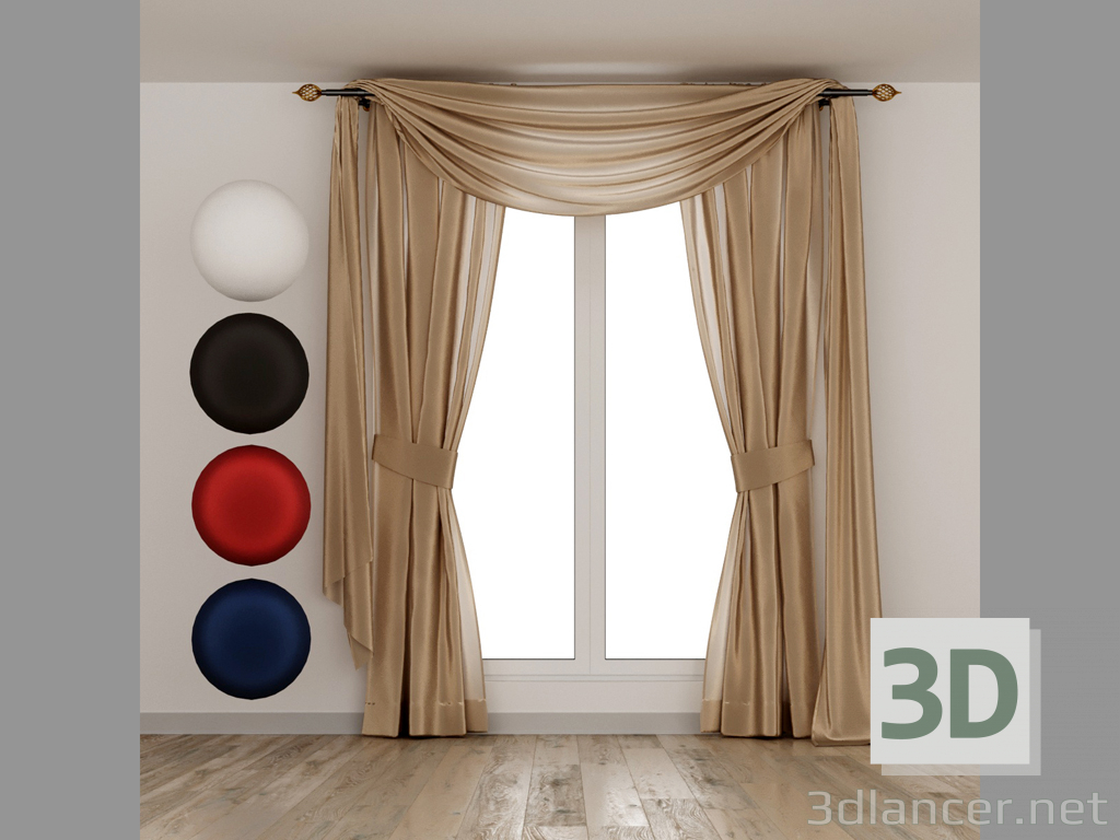 3d Silk curtains with lambrequin model buy - render