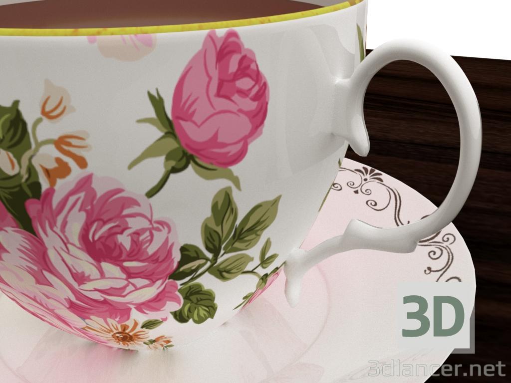 3d Porcelain saucer and cup model buy - render