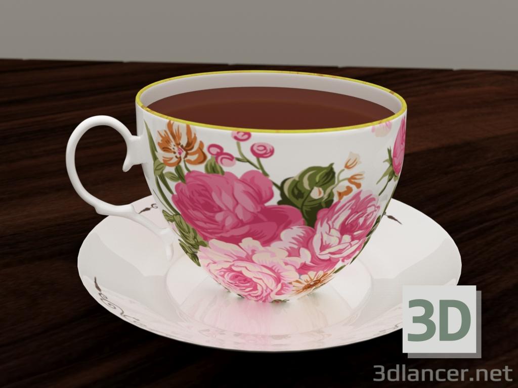 3 डी चीनी मिट्टी के बरतन तश्तरी और कप मॉडल खरीद - रेंडर