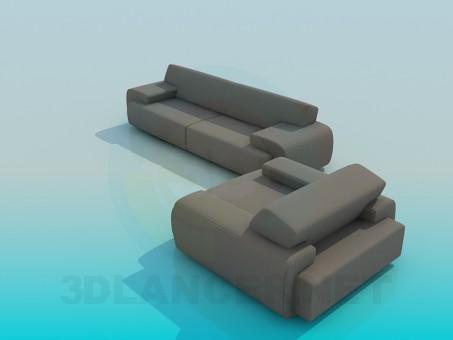 modelo 3D Sofá con silla - escuchar