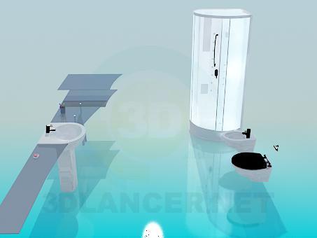 modelo 3D Situado en el cuarto de baño - escuchar