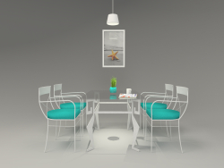Painted iron and glass dining table by hudviak