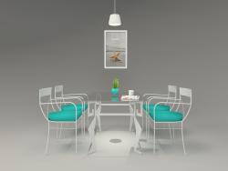 Hudviak tarafından boyanmış demir ve cam yemek masası