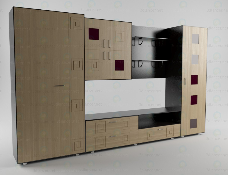3d моделювання Стінка в вітальню 2 модель завантажити безкоштовно