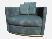 Cadeira de couro sobre metal pernas Art Deco Vivaldi