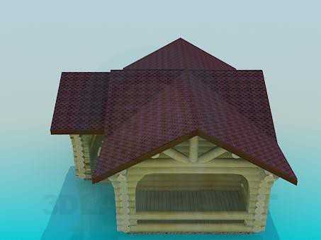 3d Model House With Log Preview