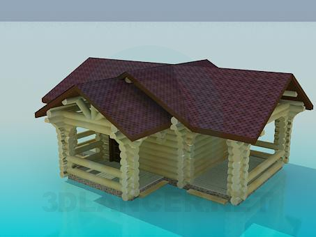 3d model House with log - preview
