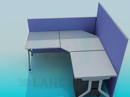 3d модель Кутовий офісний стіл з панелями – превью