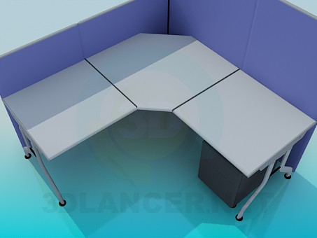 3d model Corner office desk with panels - preview