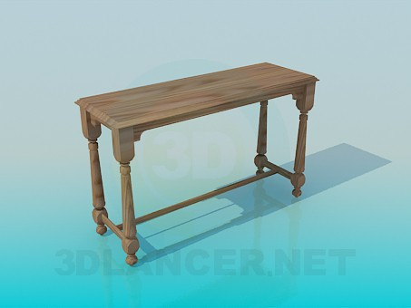 3d model The narrow wooden table - preview