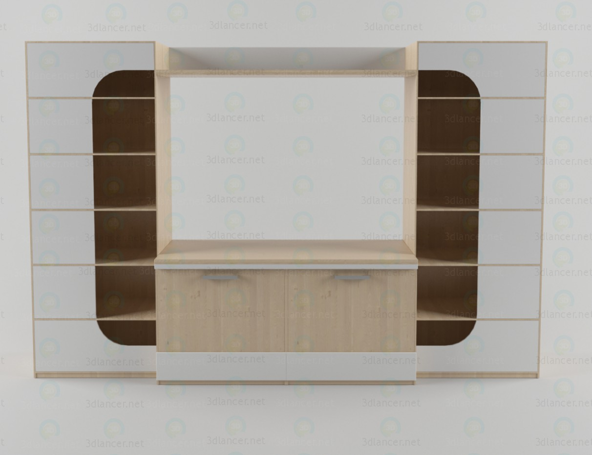 3d model Wall unit in the living room 3 - preview