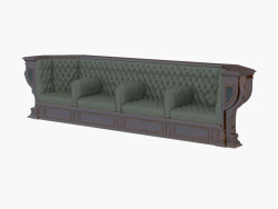 Classic leather sofa for four persons