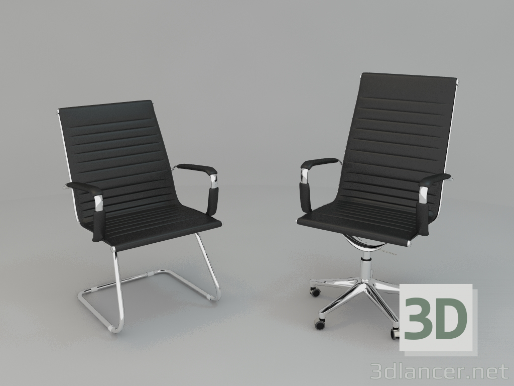 3d model Armchair and chair for office - preview