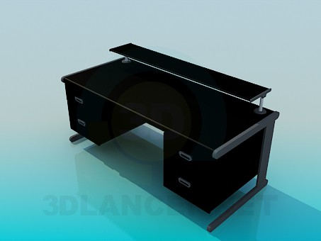 3d model A large writing desk with stand on a countertop - preview