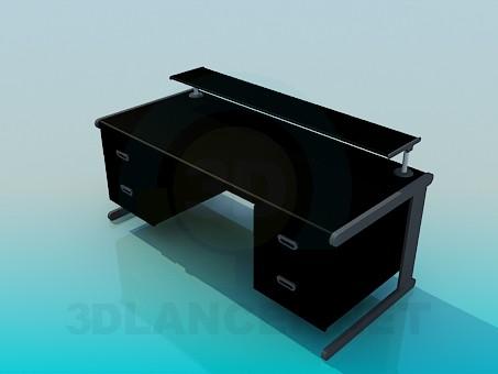 3d моделювання Великий письмовий стіл з підставкою на стільниці модель завантажити безкоштовно
