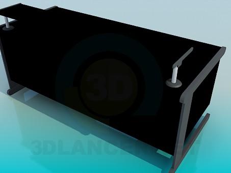 3d модель Большой письменный стол с подставкой на столешнице – превью