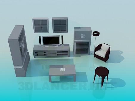3d моделирование Мебель для гостинной комнаты модель скачать бесплатно