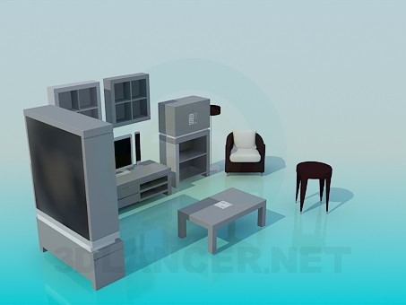 3d модель Мебель для гостинной комнаты – превью
