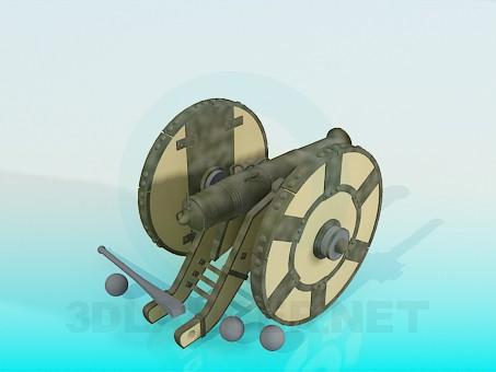 3d model High-angle gun - preview