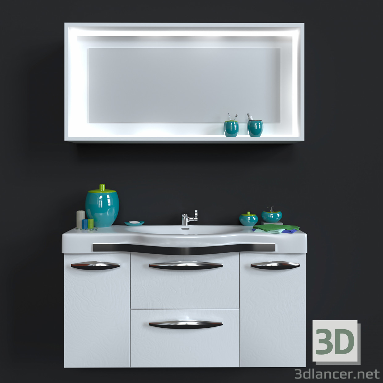 3d Model Washbasin With Mirror Decorative Set Id 17177