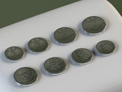 सिक्के: 1, 2, 5, 10 hryvnias।