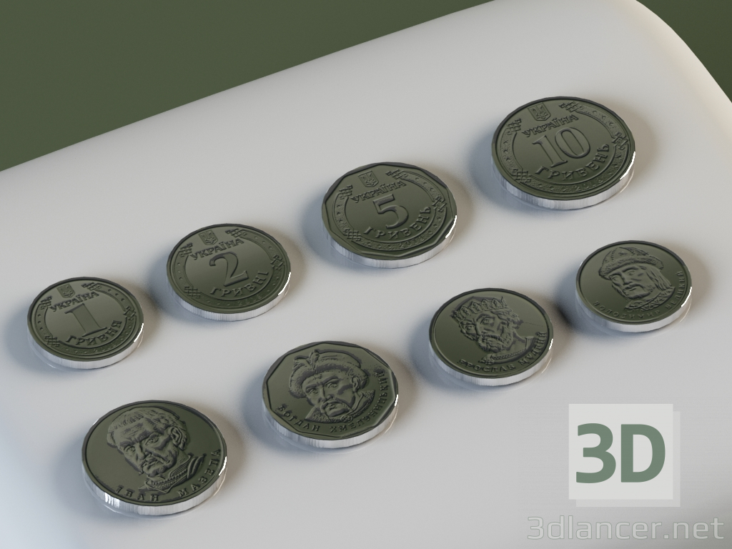 3d Coins: 1, 2, 5, 10 hryvnias. model buy - render