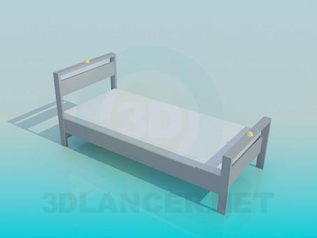 3d модель Односпальная кровать – превью